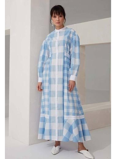 Vivencia Ekose Desenli Kadın Poplin Elbise Pembe Mavi